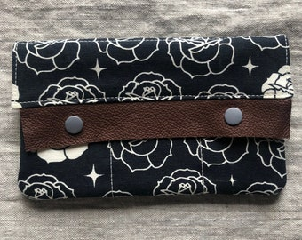 Handmade Organic Cotton Canvas Wallet with Leather Trim - two sizes