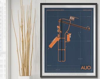 Auburn University Regional Airport Art Print, AUO Airport Map Poster, Aviation Decor, Alabama Airport Runway Print, Opelika Robert G. Pitts