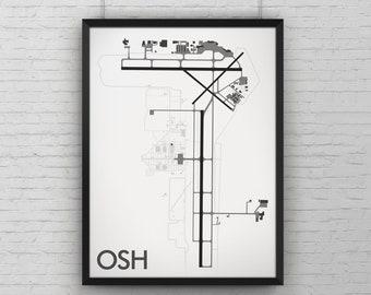 Wittman Regional Minimal Airport Art Print, OSH Airport Map Poster, Aviation Decor, Oshkosh Wisconsin Airshow Aircraft Print, EAA AirVenture
