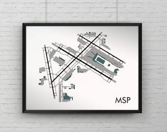 Minneapolis – Saint Paul Intl Minimal Airport Art Print, MSP Minimalist Map Poster, Aviation Decor, Minnesota Airport Runway Print, Delta