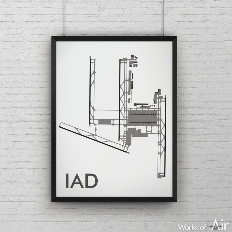 Washington Dulles International Minimal Airport Art Print, IAD Airport Map  Poster, Aviation Decor, Virginia Minimalist Print, Pilot Gift