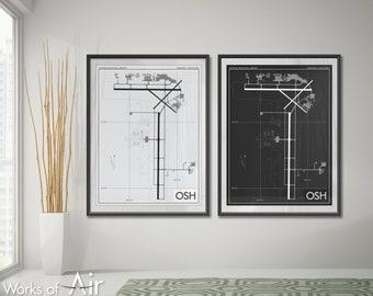 Wittman Regional Airport Art Print, OSH Poster Map, Aviation Decor, Oshkosh Wisconsin Airport Runway Print, Pilot Gift, EAA AirVenture