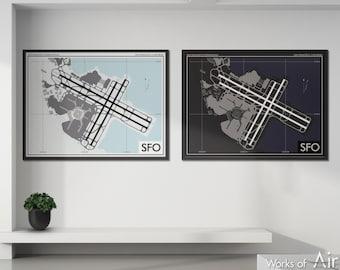 San Francisco Intl Airport Art Print, SFO Airport Map Poster, Aviation Decor, California Airport Print, Pilot Gift, Custom, United Airlines