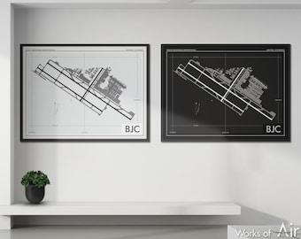 Rocky Mountain Metropolitan Airport Art Print, BJC Airport Map Poster, Aviation Decor, Broomfield Colorado Airport Print, Pilot Gift, Custom
