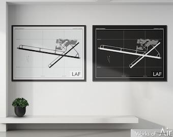 Purdue University Airport Art Print, LAF Airport Map Poster, Aviation Decor, Indiana Airport Print, Pilot Gift, Custom, Lafayette IN Map