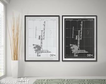 Stapleton International Airport Art Print, DEN Airport Map Poster, Aviation Decor, Denver Colorado Airport Runway Print, Pilot Gift, Custom