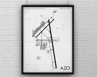 Kalamazoo / Battle Creek International Airport Art Print, AZO KAZO Airport Map Poster, Aviation Decor, Kalamazoo Michigan, Pilot Gift