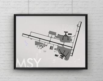 Louis Armstrong New Orleans Intl Airport Art Print, MSY Map Poster, Aviation Decor, Louisiana Minimalist Runway Airport Print, Pilot Gift