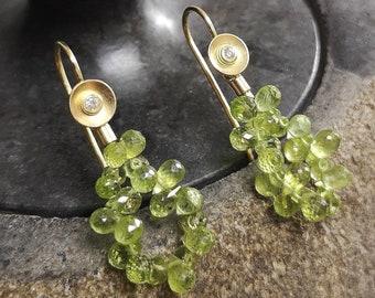 Long Peridot interchangeable earrings in 750 gold with diamonds in slice yellow gold for hanging change earrings