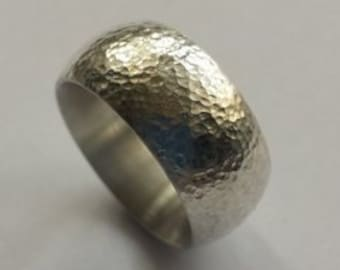 hammered silver ring 925 men's jewelry goldsmith's work