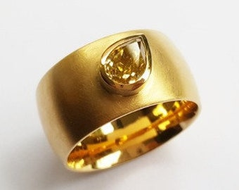 large diamond drop with 1.2 ct ring in 750 gold goldsmith's work