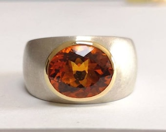 Madeira Citrine Ring in 750 Yellow Gold and 925 Silver Goldsmiths
