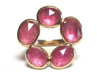 Ruby Flower Ring in 585 Rose Gold Rose Cut U- Rail rosecut Antique Goldsmith
