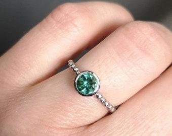 Green Tourmaline Ring in 960 Platinum Ball Ring Ball Insert Ring Pre-Insert Ring Stacking Ring Goldsmithing