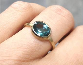 Green Blue Tourmaline Indigolite in 585 Yellow Gold Ring GoldsmithCraft CRAFT RW 56