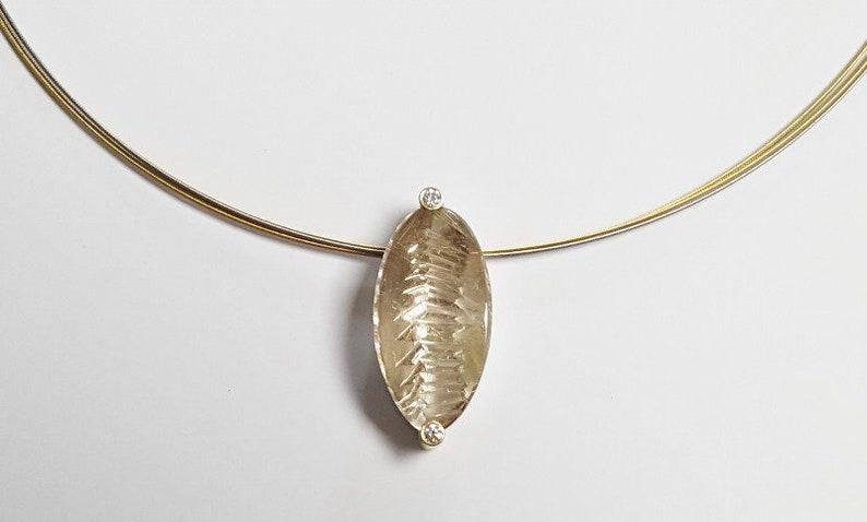 Pendant rutile quartz from 750 gold diamonds 925 silver image 0