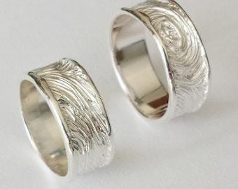 Wedding Rings 925 Silver Fingerprint Relief Pattern