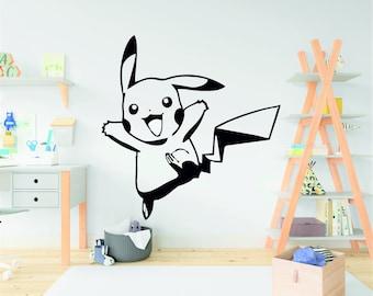 Pikachu Pokemon Anime Cartoon Manga pokeball Decal Original Decor Room Sticker Kitchen Decal