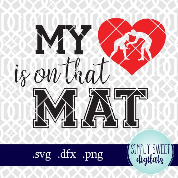 Wrestling SVG PNG Sublimation Print My Heart is on the Mat Mom Tee Leopard Print Cricut Cut Files Silhouette Sublimation Iron On Transfer