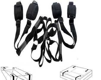 BDSM Under Bed Restraints Set Bondage / Strap Rope Cuffs /  Sex Toy / Wrists Ankles / Adult Kinky Sexy Set