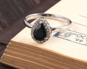 Natural Beautiful Black Onyx Ring -Gemstone Ring-925 Sterling-Zircon Ring- Silver Ring for girl-Gift for her