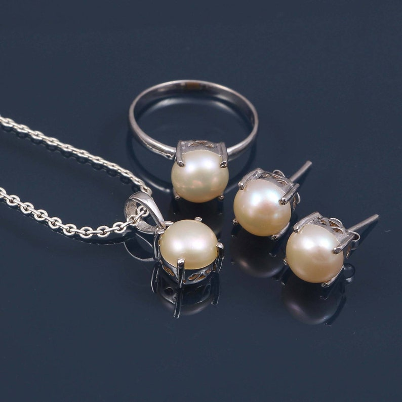 Beautiful Pearl Bridal Sets Wedding SetSilver Pearl EarringsSilver Pearl PendantSilver Pearl Ring