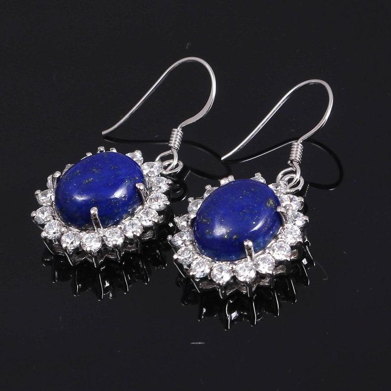 Silver Earrings Zircon Earrings-Gemstone Earrings-925 Sterling  Silver Earrings Natural Beautiful Lapis Lazuli Earrings