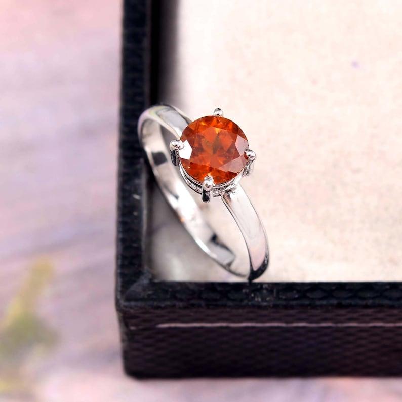 Rear Orange  Garnet Ring for Girls Gemstone Ring-925 Sterling Silver Ring-Promise Ring-Gift for Her