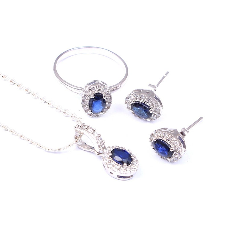 Beautiful  Blue Sapphire Difused Bridal Sets Silver RingSilver PendantSilver Earring