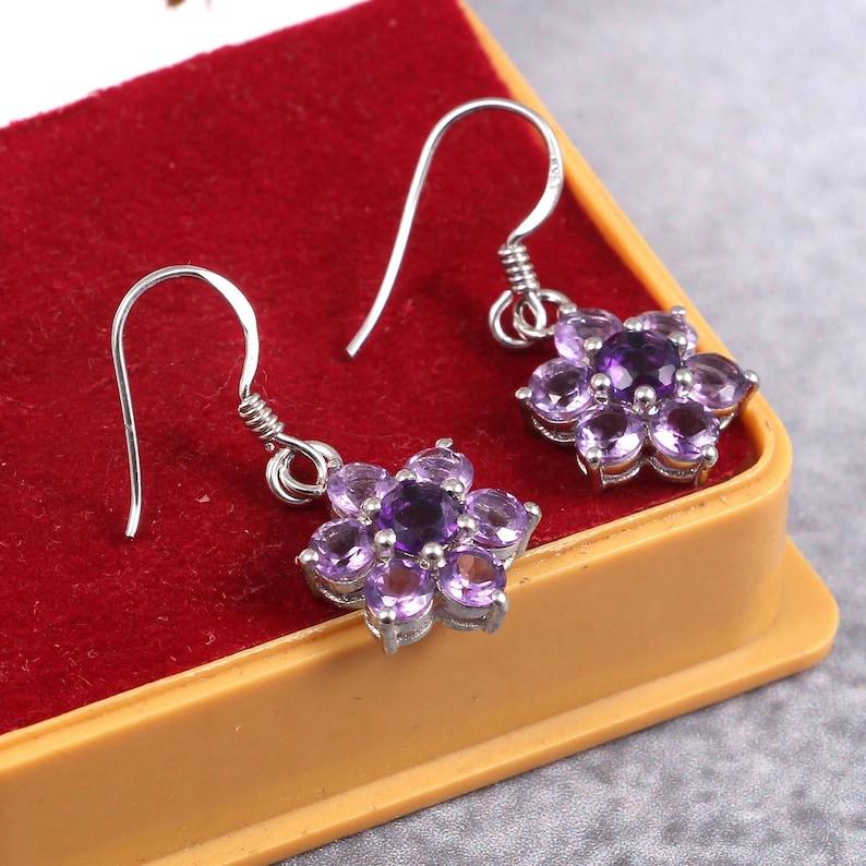 Amethyst Dangle Earrings Beutifull  Amethyst Silver Earrings Amethyst Jewellery Flower Earrings-Sterling Silver Earrings