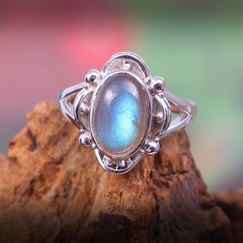 Natural Beautiful Labradorite Ring Gemstone Ring-925 Sterling Silver Ring