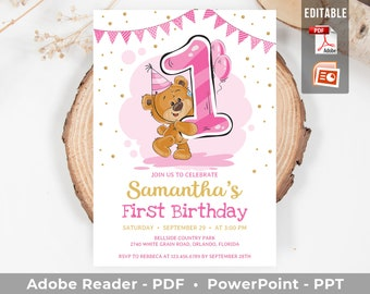 Printable Birthday Invitation Editable Girl Teddy Bear Invite Blush Pink And Gold Template Any Age More Colors INSTANT DOWNLOAD TED1