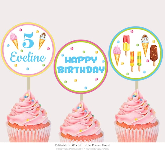 picture about Birthday Cake Printable identify Birthday Cupcake Toppers Printable, Editable Birthday Cake Toppers, Scoop Cake Toppers Template, Ice Product Birthday Immediate Obtain ICPS16
