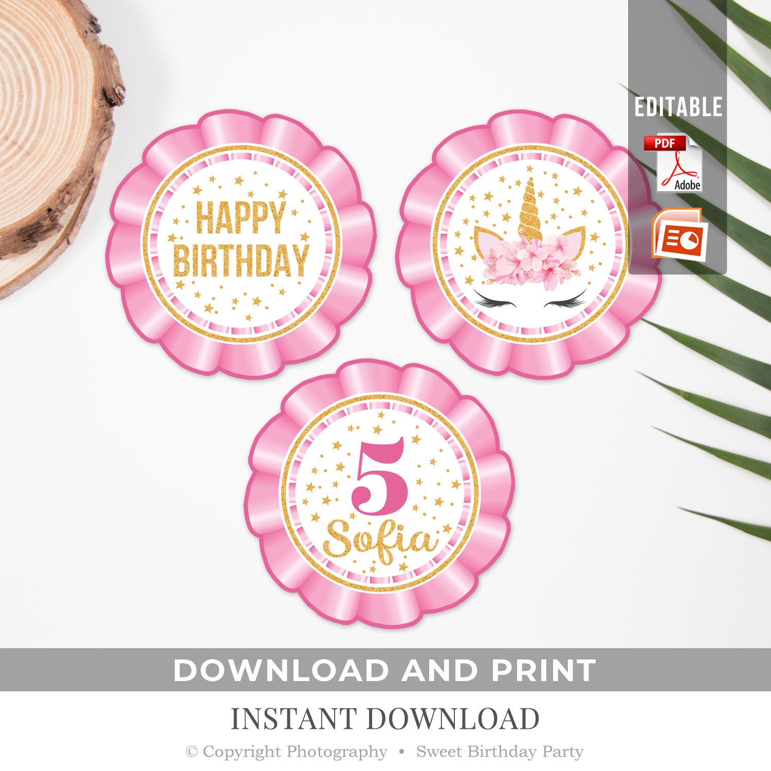 Unicorn Birthday Cupcake Toppers Printable Pink And Gold