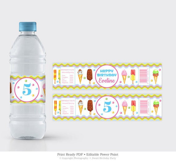 Water Bottle Label Printable Ice Cream Birthday Party Label Template Editable Birthday Lable Summer Birthday Instant Download Icps16