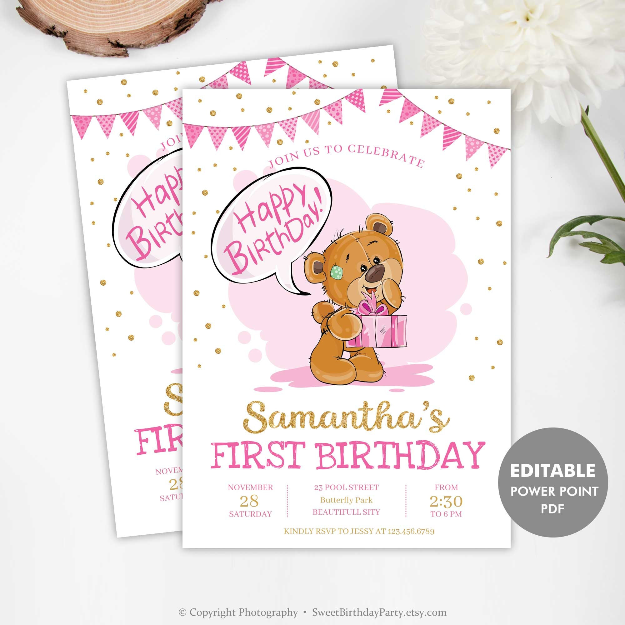 Girl Birthday Invitation Template First Invite Printable Pink And Gold Edit Yourself INSTANT DOWNLOAD TED1