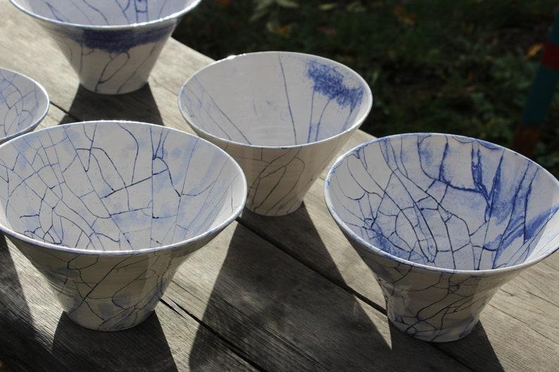 large Bowl white blue Craqueliert