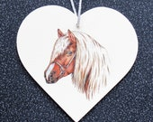 4 quot (10cms) Decoupaged Heart. Decorated heart. Horse Head Hanging Decoration. Wood Wall Plaque. Handcrafted heart. Horse Lovers. Christmas