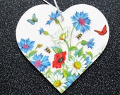 4 quot Handmade MDF Wood Heart Decoration. Hanging Wooden Heart Plaque with flowers butterflies. Gift for her. Handcrafted Wood Heart.
