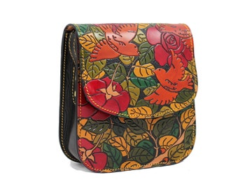 d9d47c90d Small leather handbag embossed with roses and birds || Hand painted leather  handbags || Hand crafted in Spain
