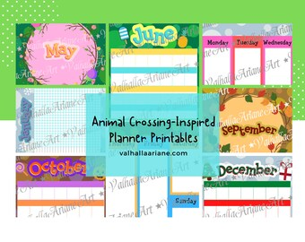 Bigger-sized Animal Crossing-Inspired Monthly Planner Printables