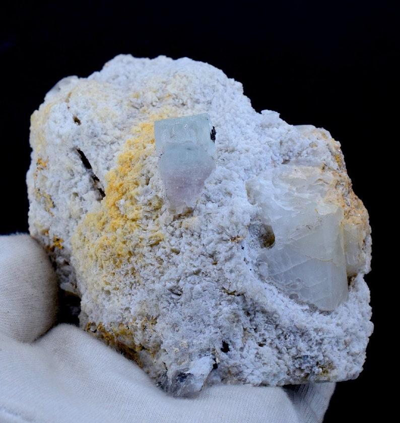 Bi Color Beryl Crystal on matrix frpm Skardu Pakistan 114*65*73 mm AquaMorganite Aquamarine Morganite var 703 Gram