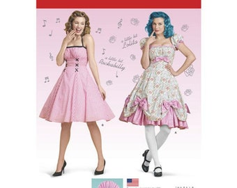 1950s Fabrics & Colors in Fashion Simplicity Pattern 8127 Misses Lolita and Rockabilly Dresses $5.95 AT vintagedancer.com
