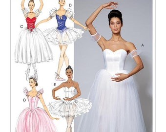 Misses' Ballet Costumes with Boned Bodice, Skirt, Sleeve Variations, Cosplay/Costume, Halloween - McCall's Sewing Pattern M7615