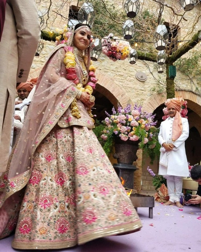 Best selling lehenga choli light pink colour with embroidery work lehenga  choli and dupatta ghagra chaniyacholi Indian women traditional dre