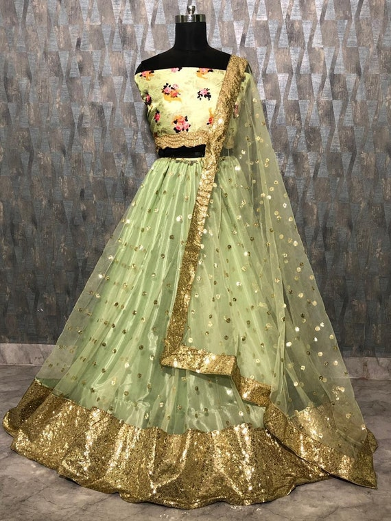 Mint green colour lehenga with sequins work and printed blouse and dupatta flare sleeves ghagra Chaniyacholi
