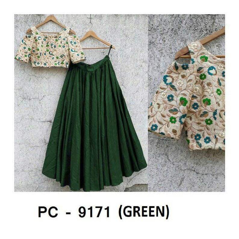 Pakistani Indian Skirt Green Lehenga Choli Lengha Chaniya Ghagra Stylish Lehanga