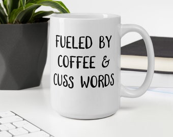 Coffee and Cuss Words Mug, Funny Gifts, Coffee Lover Gifts, Coffee Mug, Unique Gifts