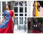 Rayon Printed Kurtis Indian Traditional Printed Multi color Cotton Women long dress kurti M,Land XL,XXL size