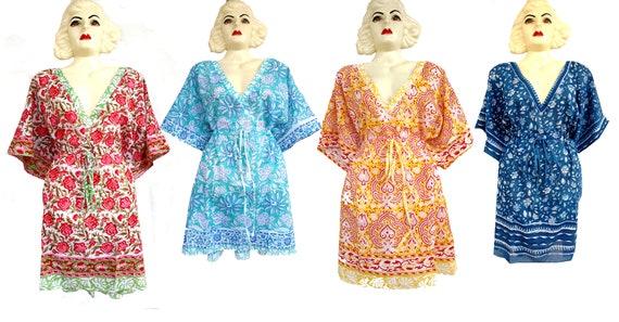 Kaftan Hand Block Printed 100/% pure cotton multi color design cover ups swim suit free size kaftan for women